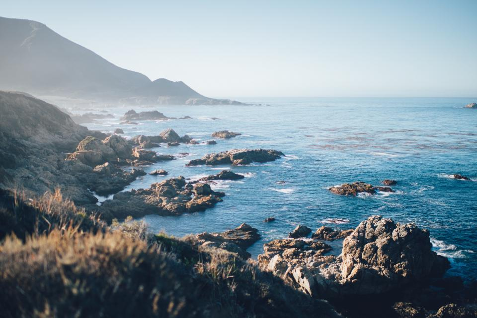 nature, landscape, mountain, coast, sea, water, blue, rocks, sky, horizon