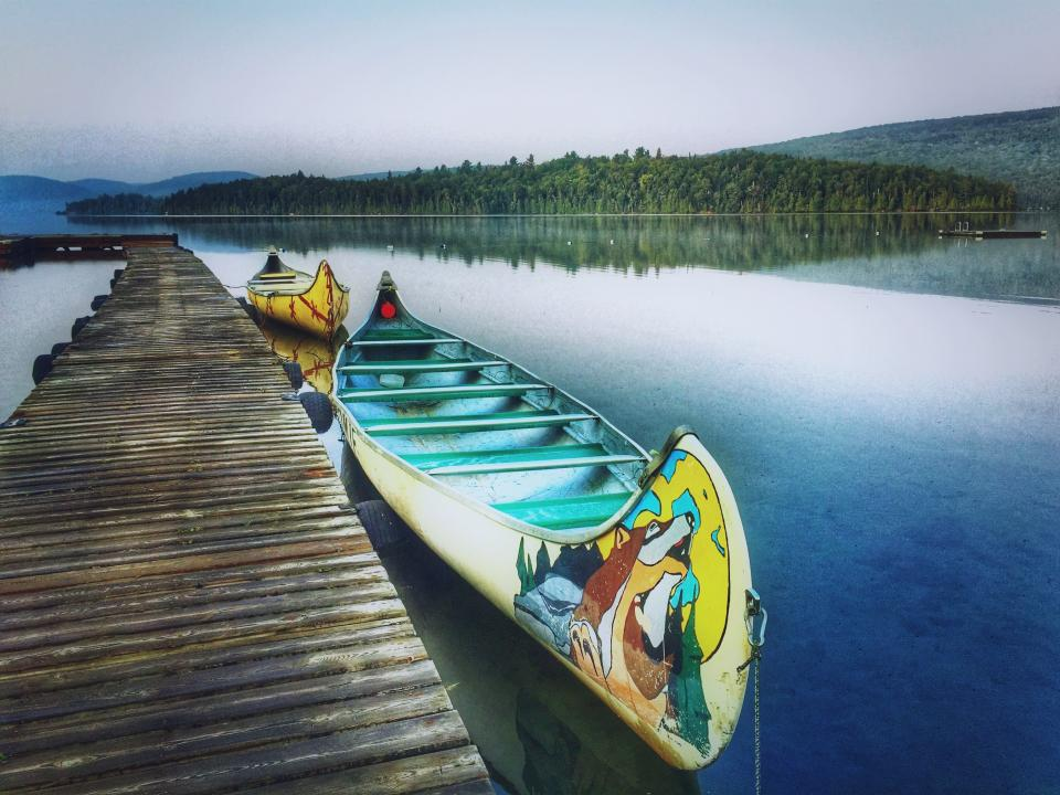 canoe, boat, dock, lake, water, trees, nature, forest, woods, outdoors