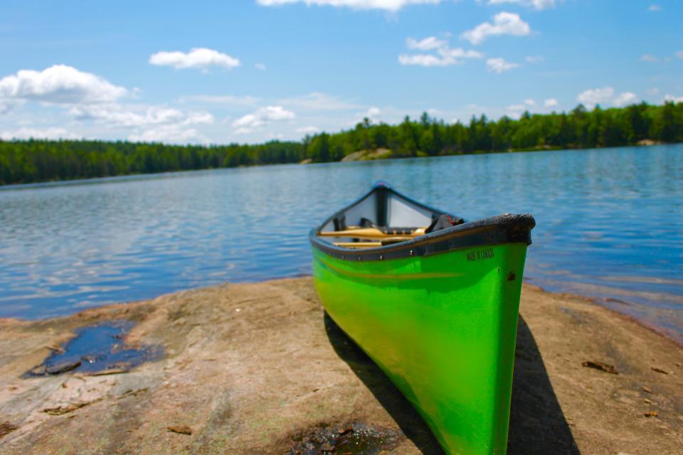 canoe, boat, lake, water, outdoors, adventure, blue, sky, sunshine, nature, adventure, summer