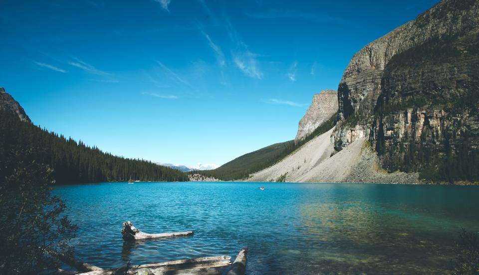 lake, water, river, blue, sky, sunshine, summer, outdoors, landscape, nature, rocks, cliffs, trees, forest, woods