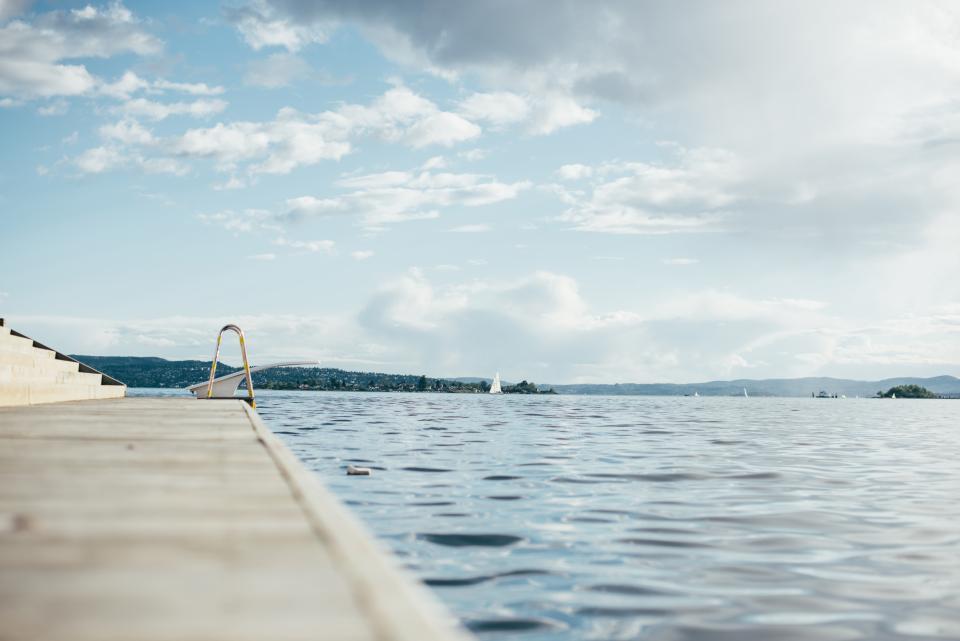 dock, lake, water, sailboats, sky, clouds, nature, outdoors