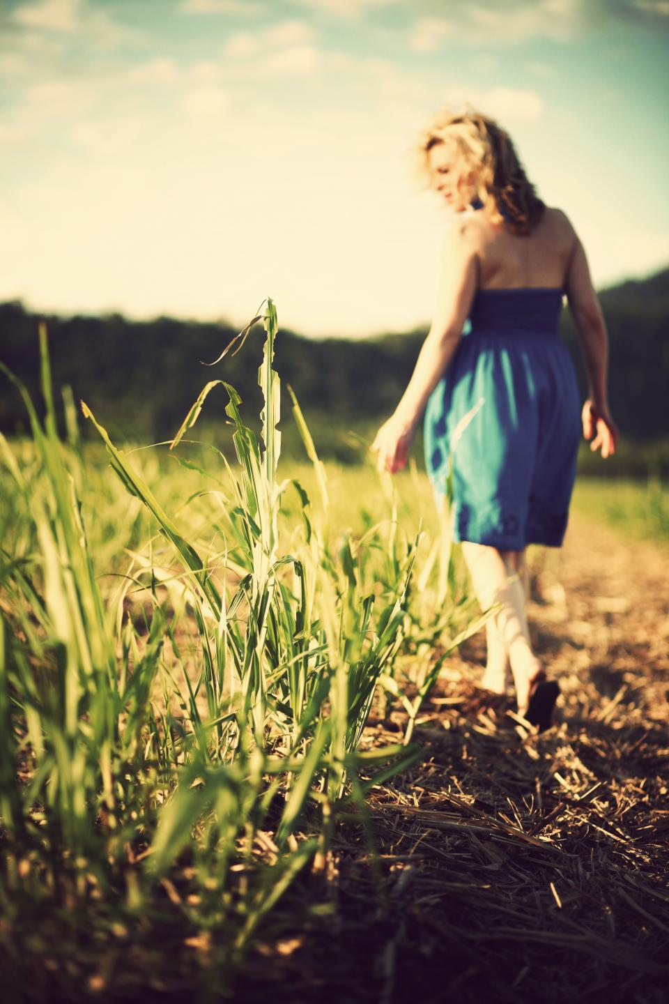 girl, woman, field, grass, nature, sunshine, sunny, summer, dress, fashion, people