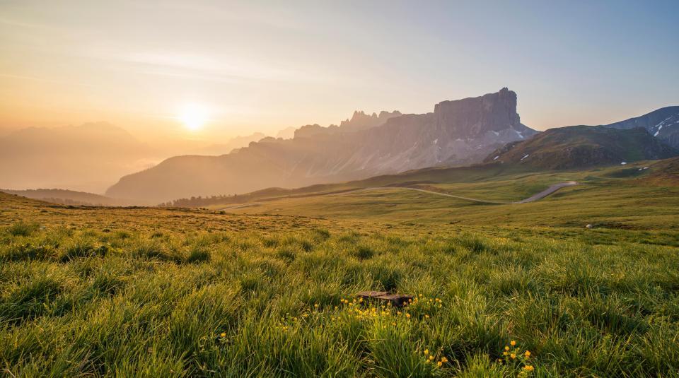 sunset, landscape, nature, grass, field, mountains, hills, valleys, green, dusk, sky