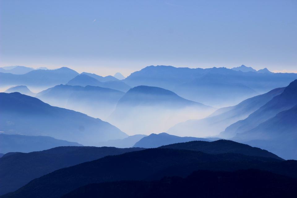 nature, mountains, landscape, clouds, sky, horizon, travel, hike, climb, blue, gradient