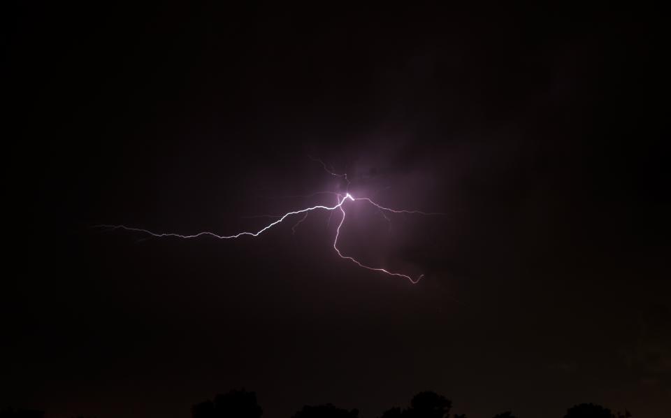 lightning, storm, dark, night, sky, evening