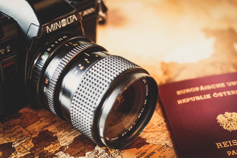 minolta, camera, photography, lens, slr, map, navigation, travel, trip, passport