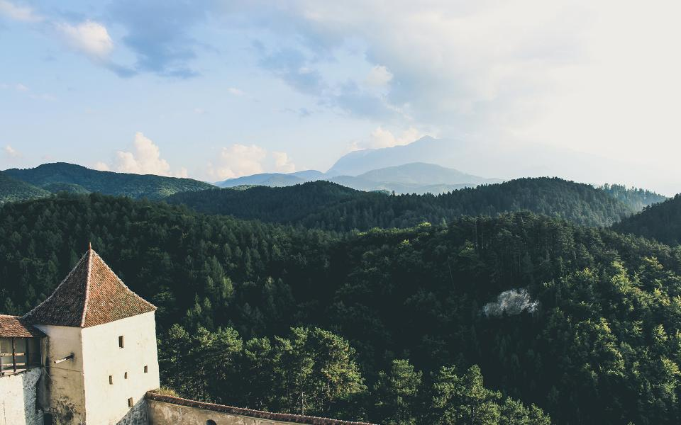forest, trees, woods, hills, valleys, mountains, landscape, nature, summer, sky, clouds, castle, architecture, village, town