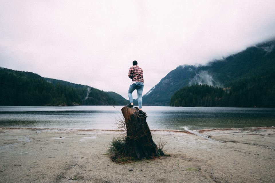 guy, man, people, jeans, denim, lake, river, water, landscape, nature, outdoors, mountains, sky, clouds