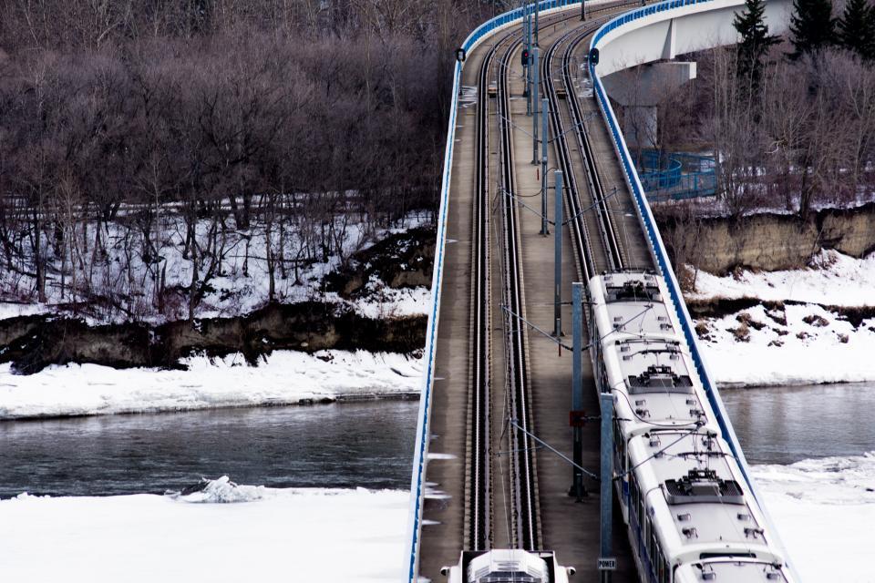 train, tracks, railroad, railway, transportation, winter, snow, river, water