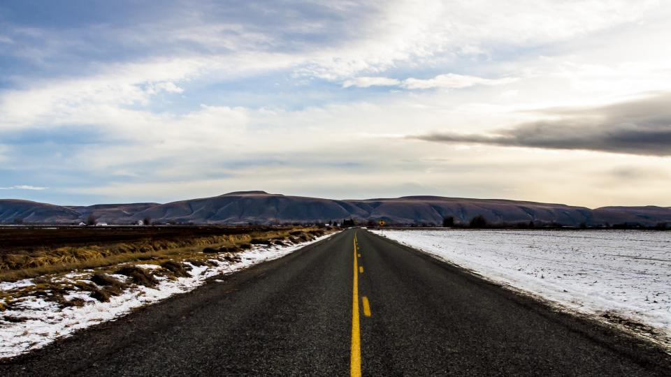 rural, road, countryside, snow, winter, mountains, landscape, sky, clouds, outdoors