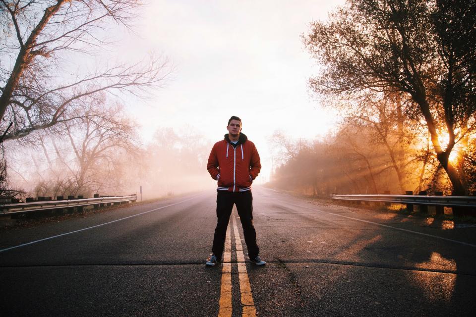guy, man, road, street, jacket, hoodie, people, sunset, dusk, rural