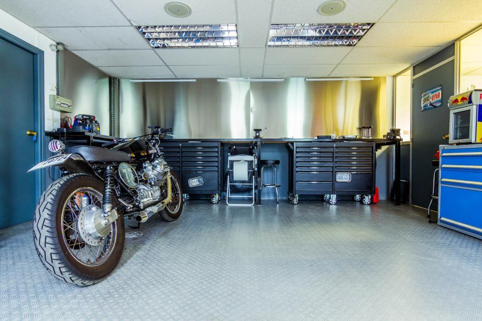 motorcycle, motorbike, garage, workshop, tools, toolshed, mechanic