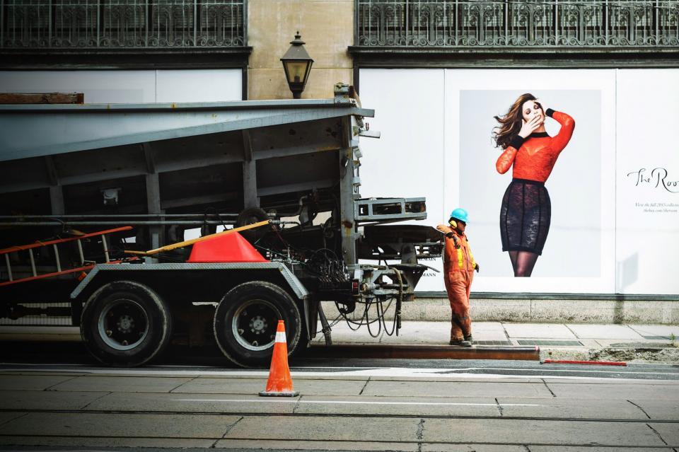 guy, man, male, people, city, urban, construction, worker, job, truck, ladder, poster, break, model, woman, orange