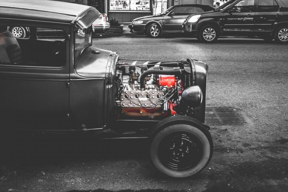 car, classic, vintage, engine, street, road, black and white, city