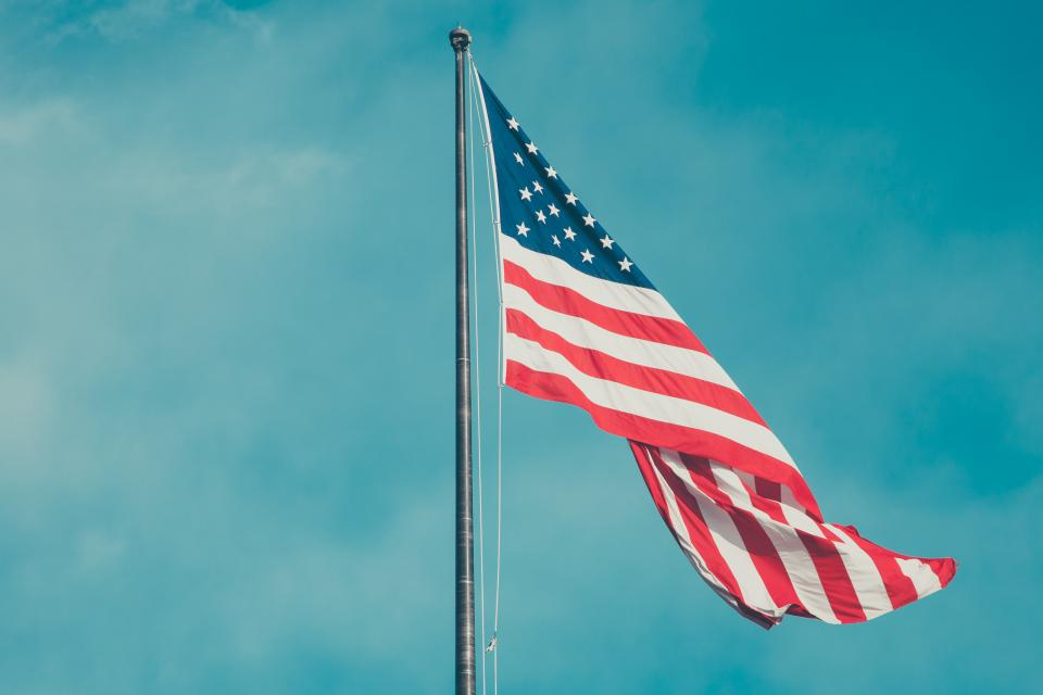 american, flag, blue, sky, United States, USA, stars and stripes