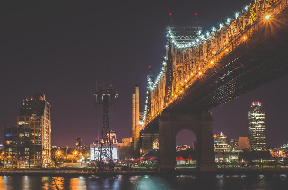 bridge, architecture, lights, night, evening, dark, city, urban, skyline, buildings