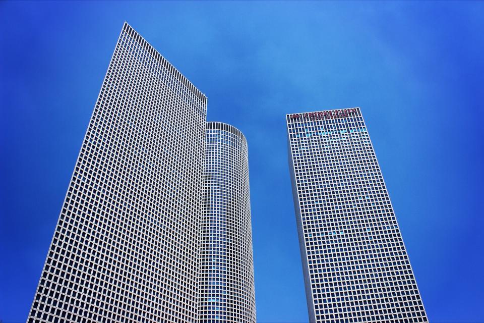 buildings, towers, high rises, architecture, windows, blue, sky, city, urban