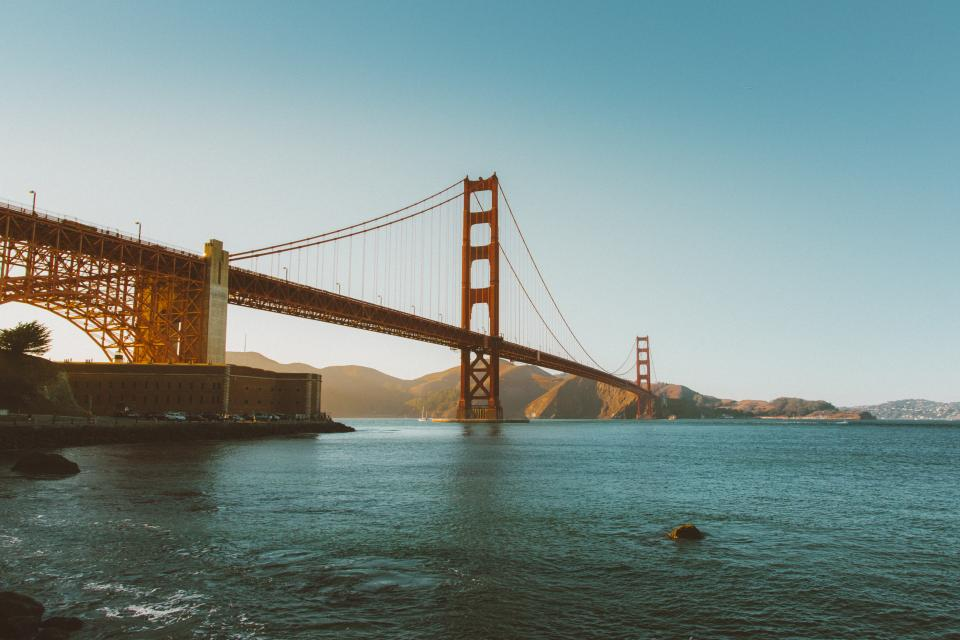Golden Gate Bridge, San Francisco, architecture, bay, water, mountains, sunshine, summer, blue, sky