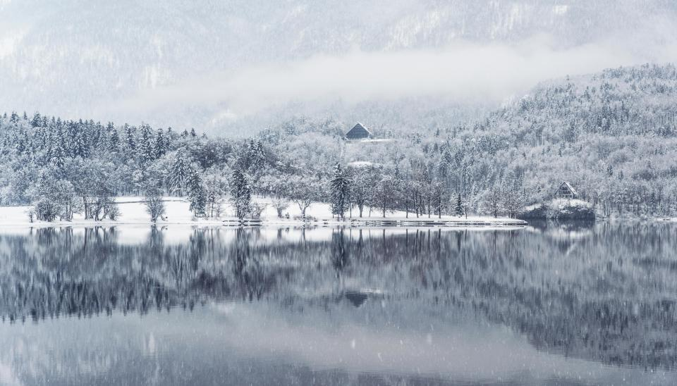 winter, lake, water, reflection, snow, cold, landscape, nature, outdoors, mountains, trees, forest, white