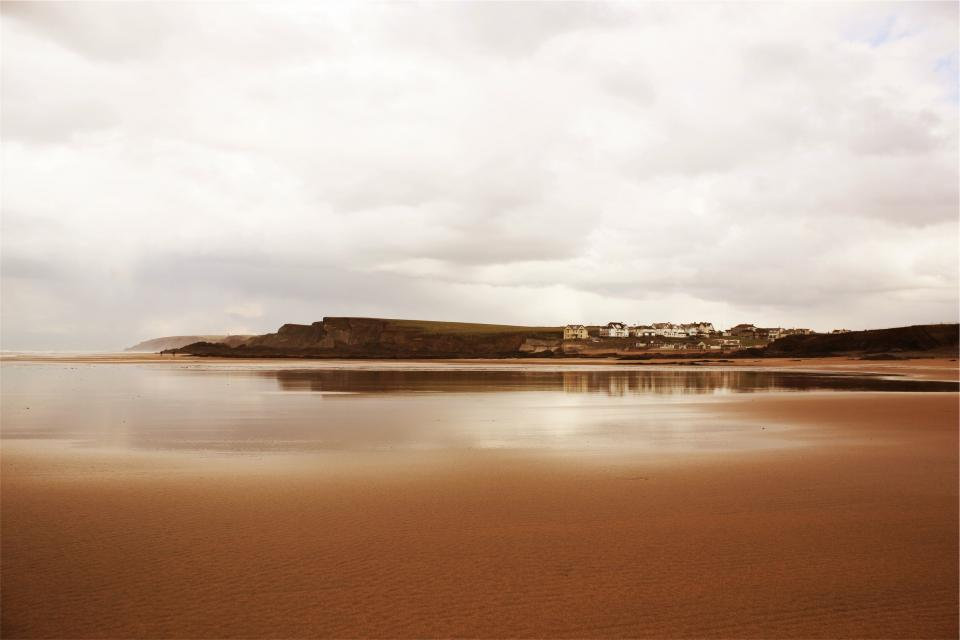 beach, sand, houses, coast, sky, clouds, ocean, sea, water
