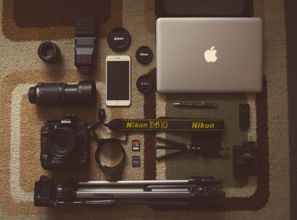 camera, gear, objects, photography, technology, macbook, iphone