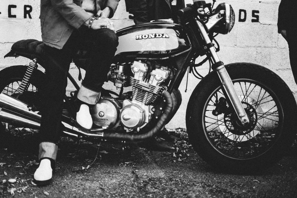 honda, motorcycle, motorbike, black and white, lifestyle, people