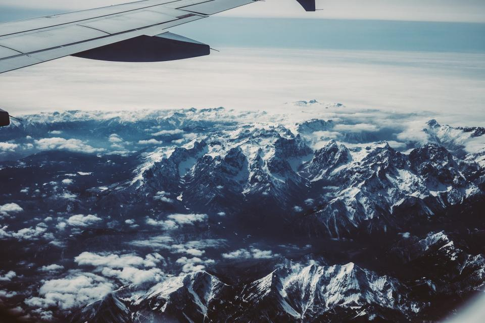 airplane, wing, aerial, view, mountains, summit, peak, travel, transportation, trip, flying, snow, sky, clouds