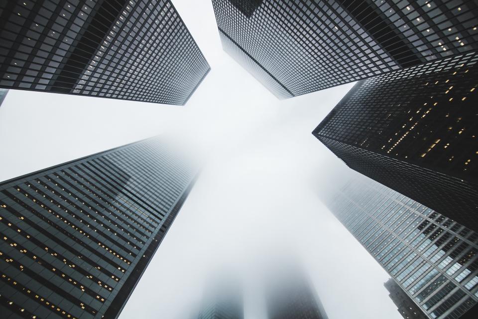 buildings, architecture, office, business, corporate, windows, sky, fog, foggy, clouds, city, urban