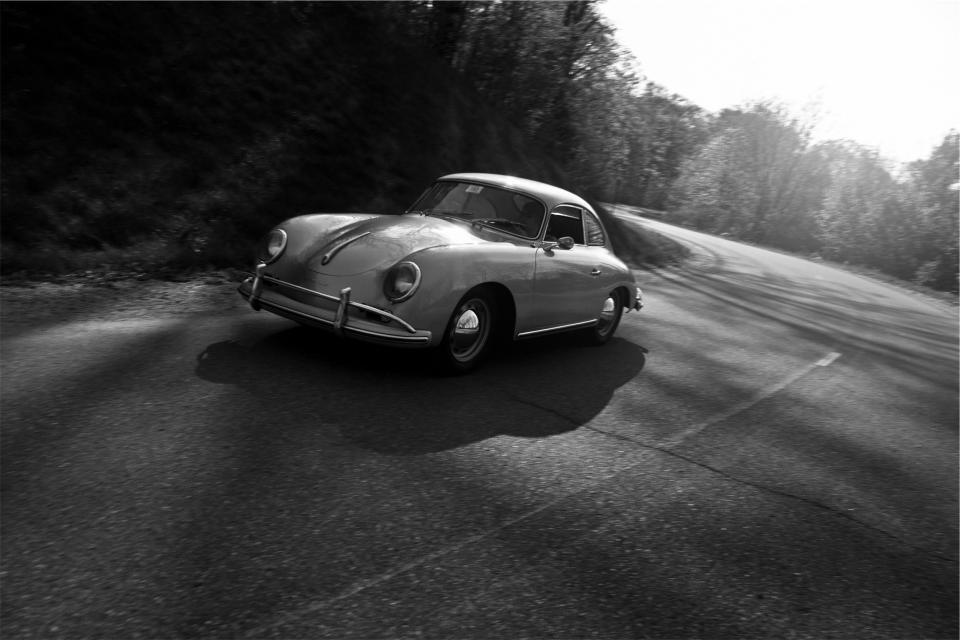 classic, car, vintage, road, driving, pavement, automotive