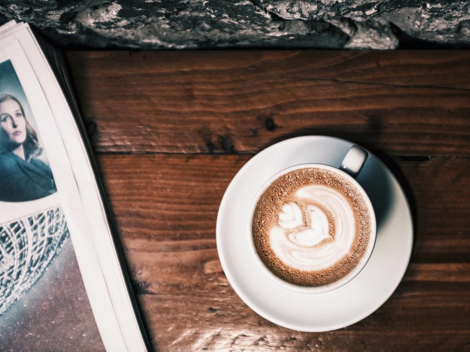coffee, cappuccino, latte, cup, newspaper, reading, wood, table