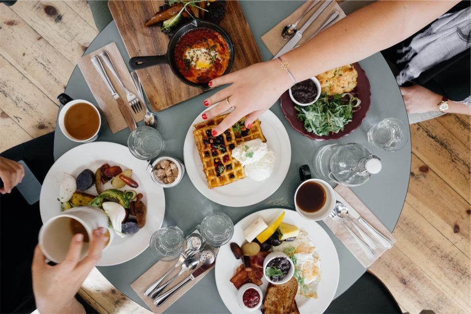 breakfast, food, waffles, eggs, bread, bacon, cheese, restaurant, table, plates