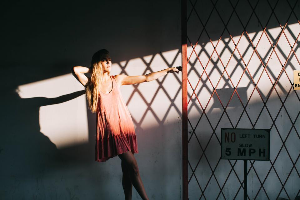 girl, woman, model, dress, beautiful, fence, shadow, sunshine, long hair, people