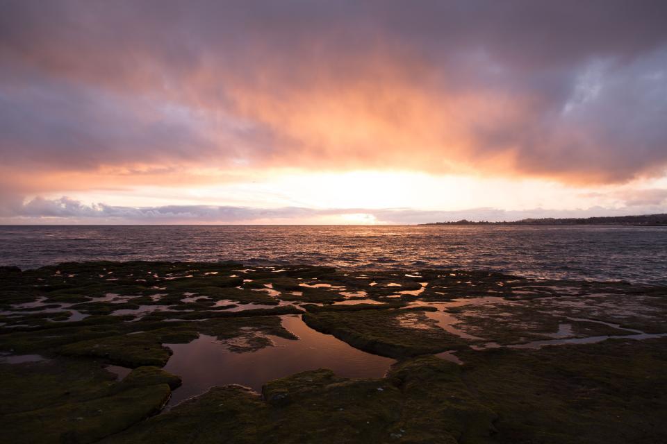 sunset, dusk, sky, clouds, water, ocean, sea, horizon, landscape