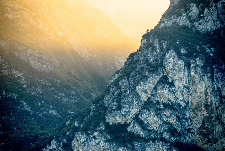sunset, mountains, valleys, rocks, cliffs, nature, outdoors, adventure