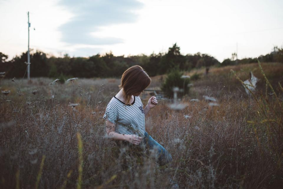 girl, woman, plants, field, nature, grass, nature, outdoors, people, model, lifestyle