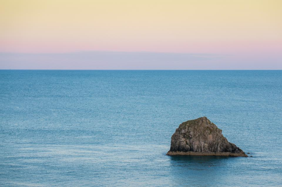 ocean, sea, water, rocks, horizon, sunset, sky