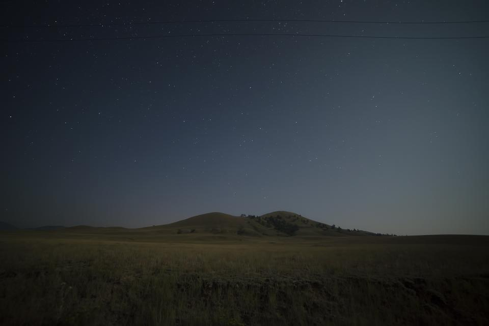 stars, galaxy, space, astronomy, night, dark, evening, field, grass, mountains, hills, landscape, nature