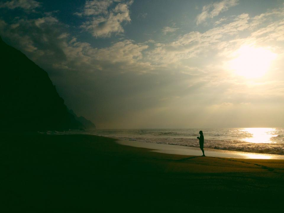 sunset, dusk, sky, clouds, silhouette, shadow, people, ocean, sea, shore, water, beach, sand