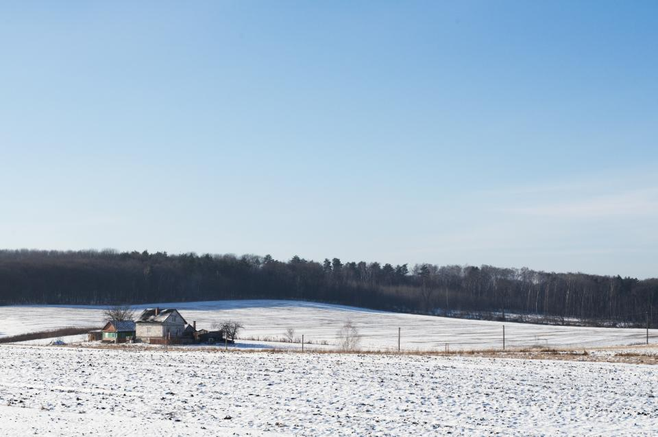 winter, snow, cold, field, rural, countryside, house, barn, trees, forest, blue, sky, landscape, nature, outdoors