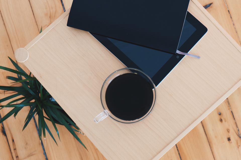 ipad, notepad, coffee, cup, wood, table, plant, decor, technology, business, office