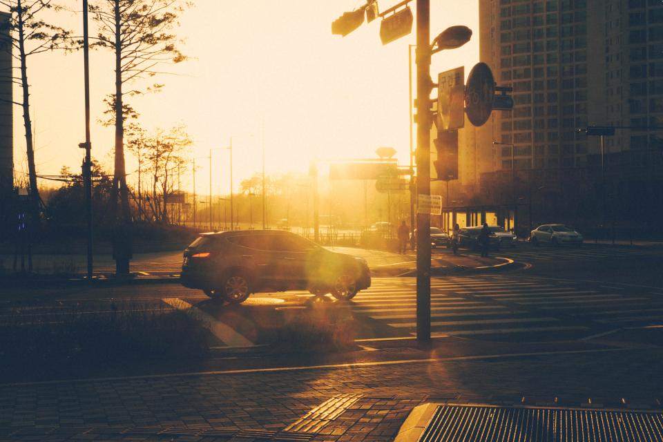 street, road, intersection, sunset, city, urban, suv, traffic lights
