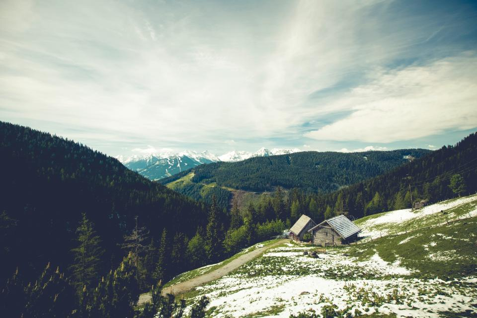 house, cottage, mountains, trees, grass, fields, forest, woods, landscape, nature, peaks, sky, clouds, outdoors