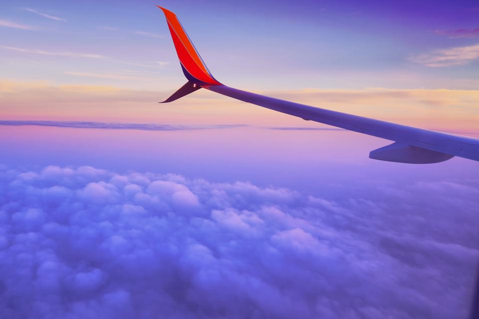 airplane, wing, flying, aerial, view, sky, above the clouds, transportation, travel, trip, vacation