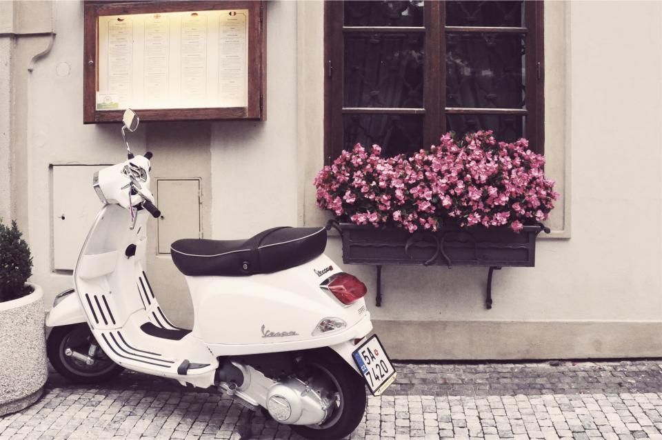 vespa, scooter, moped, cobblestone, flowers, pot