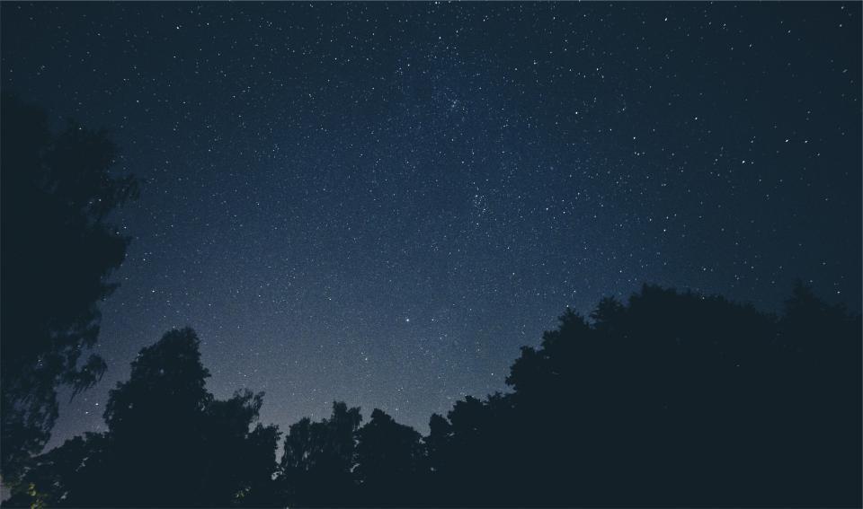 stars, sky, night, dark, evening, galaxy, space, silhouette