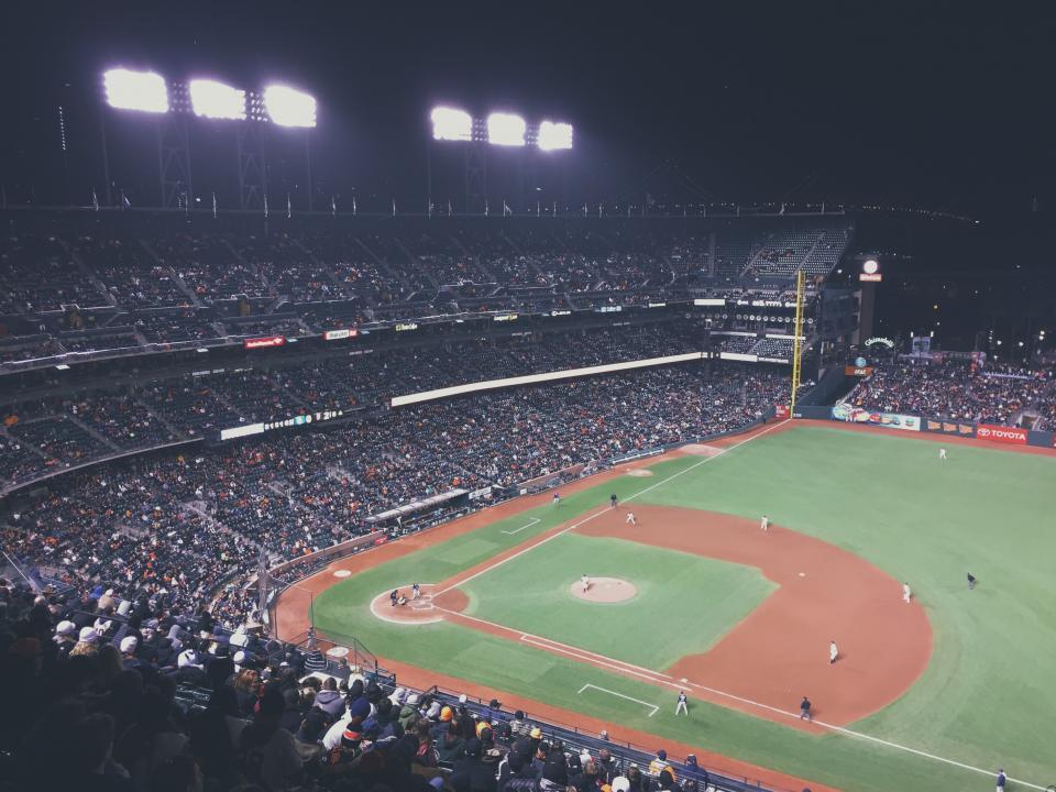 baseball, stadium, field, diamond, crowd, people, spectators, sports, athletes, night, dark, spotlights, fun, entertainment