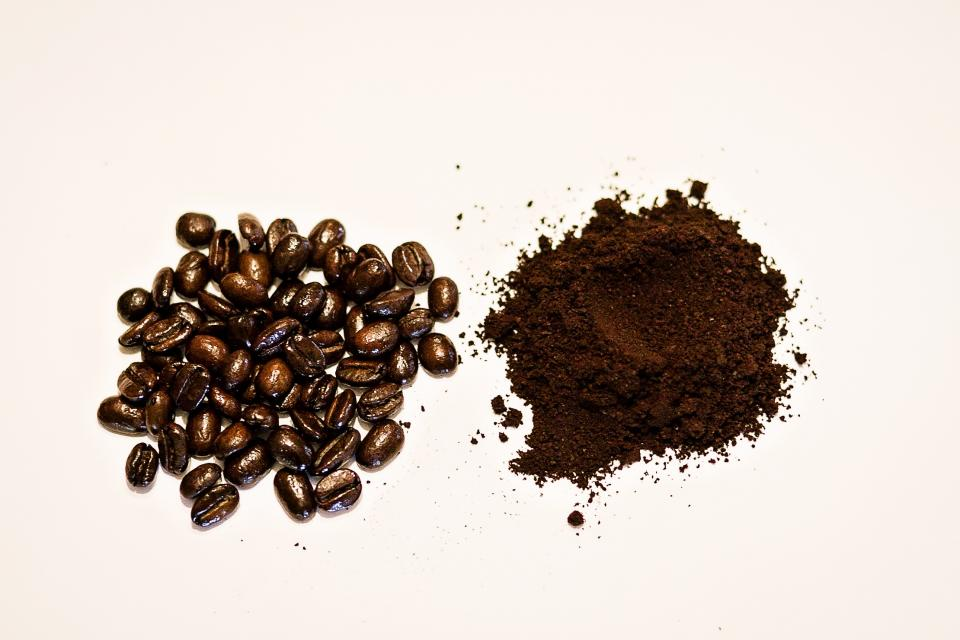 coffee, beans, grinds, cafe