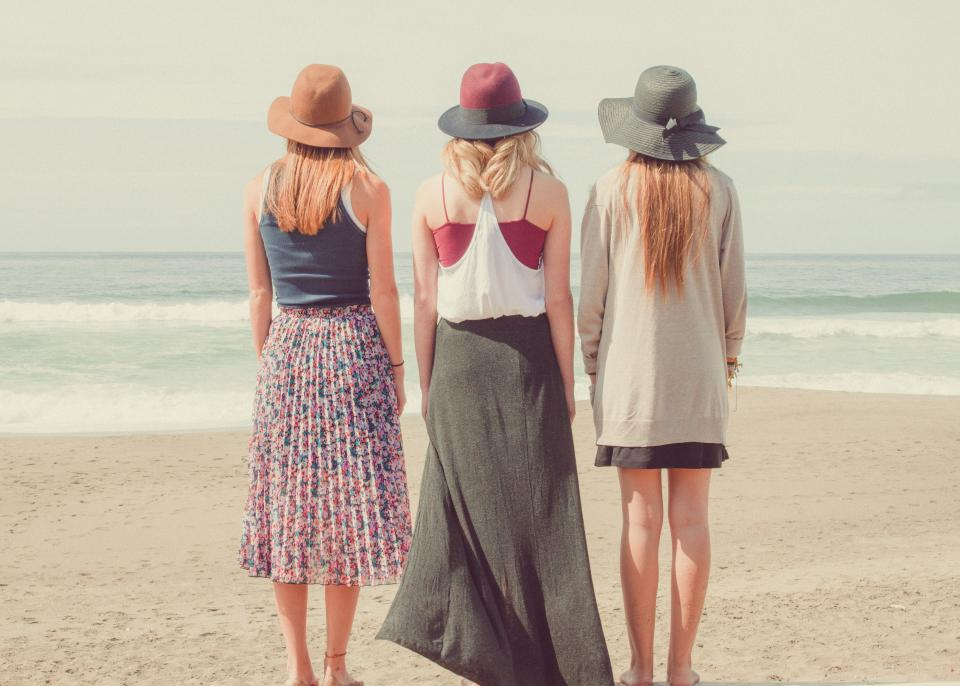 girl, girls, woman, women, people, fashion, models, hats, lifestyle, sunshine, outdoors, beach, sand, ocean, sea, waves