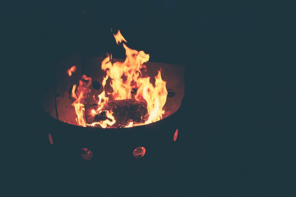 grill, flames, fire, cook, roast, burn, light, shadows