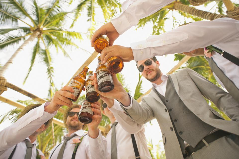 wedding, groomsmen, friends, party, celebration, beer, brews, alcohol, people, group, friends, guys, men, suits, palm trees, sunshine, sunglasses